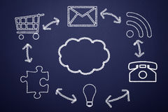 Cloud Computing. Concept on the blackboard Stock Photography