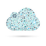 Cloud computing concept blue vector illustration