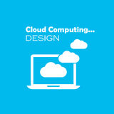 Cloud computing concept. On blue background Royalty Free Stock Photos