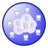 Cloud computing concept in blue circle Royalty Free Stock Photo