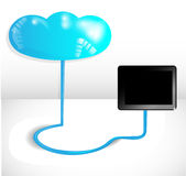 Cloud computing concept with blue cloud Stock Image