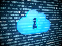 Cloud computing concept: blue Cloud With Keyhole Stock Images