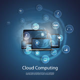 Cloud Computing Concept. Blue Cloud Computing Concept Design with Bubbly Icons, Computers and Devices - Freely Scalable & Editable Vector Format Included Stock Image