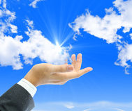 Cloud computing concept. Businessman hand with cloud computing concept Stock Photos