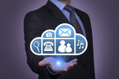 Cloud Computing Concept on Businessman Hand. Work on visual screen Stock Photography