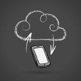 Cloud Computing Concept With Cellphone Vector Chalkboard Drawing. Hand drawn cloud computing concept with cell phone, chalkboard drawing. EPS 10 file Stock Images