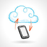 Cloud Computing Concept With Cellphone Vector Drawing. Hand drawn cloud computing concept with cell phone. EPS 10 file Royalty Free Stock Photos