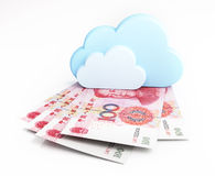 Cloud computing concept, chinese yuan Stock Photography
