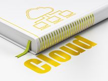 Cloud computing concept: book Cloud Network, Cloud on white background. Cloud computing concept: closed book with Gold Cloud Network icon and text Cloud on floor Royalty Free Stock Image