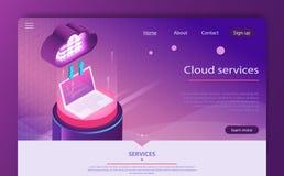 Cloud computing concept. Cloud data storage 3d isometric infographic illustration vector illustration