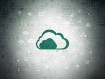 Cloud computing concept: Cloud on Digital Data Paper background. Cloud computing concept: Painted green Cloud icon on Digital Data Paper background with  Hand Royalty Free Stock Images