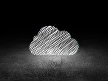 Cloud computing concept: Cloud in grunge dark room Stock Photography