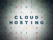 Cloud computing concept: Cloud Hosting on Digital Data Paper background Royalty Free Stock Photography