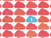 Cloud computing concept: cloud with keyhole icon Royalty Free Stock Photos