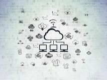 Cloud computing concept: Cloud Network on Digital Data Paper background. Cloud computing concept: Painted black Cloud Network icon on Digital Data Paper Royalty Free Stock Photos