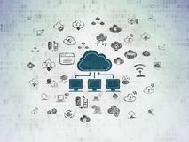 Cloud computing concept: Cloud Network on Digital Data Paper background. Cloud computing concept: Painted blue Cloud Network icon on Digital Data Paper Royalty Free Stock Photos