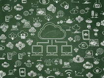 Cloud computing concept: Cloud Network on School Stock Photography