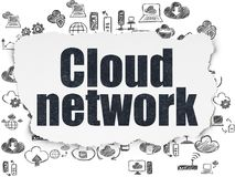 Cloud computing concept: Cloud Network on Torn Paper background. Cloud computing concept: Painted black text Cloud Network on Torn Paper background with  Hand Royalty Free Stock Photos