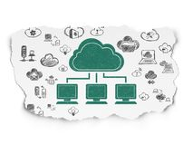 Cloud computing concept: Cloud Network on Torn Paper background. Cloud computing concept: Painted green Cloud Network icon on Torn Paper background with  Hand Royalty Free Stock Photos