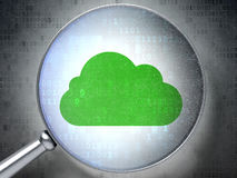 Cloud computing concept:  Cloud with optical glass Royalty Free Stock Photos