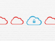 Cloud computing concept: cloud with padlock icon Stock Photos
