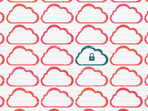 Cloud computing concept: cloud with padlock icon Royalty Free Stock Photos