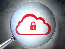 Cloud computing concept:  Cloud With Padlock with optical glass Stock Photos