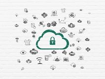 Cloud computing concept: Cloud With Padlock on wall background. Cloud computing concept: Painted green Cloud With Padlock icon on White Brick wall background Stock Photo