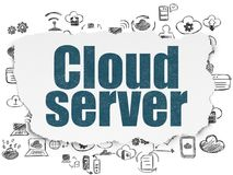 Cloud computing concept: Cloud Server on Torn Paper. Cloud computing concept: Painted blue text Cloud Server on Torn Paper background with  Hand Drawn Cloud Royalty Free Stock Photo