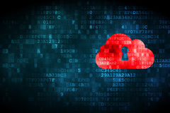 Cloud computing concept: Cloud Whis Keyhole on digital backgroun Royalty Free Stock Photography