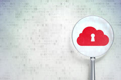 Cloud computing concept:  Cloud Whis Keyhole with optical glass Stock Images