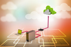 Cloud computing concept. In color background Stock Photography