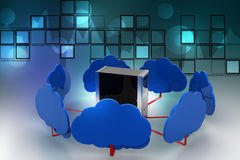 Cloud computing concept. In color background Stock Photo
