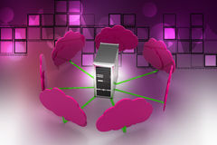 Cloud computing concept. In color background Stock Photos