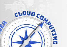 Cloud computing concept with compass pointing towards text stock illustration