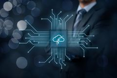 Cloud computing. Concept - connect devices to cloud. Businessman or information technologist with  icon royalty free stock images