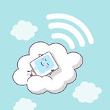 Cloud computing concept. Cute cartoon digital tablet pc lying on a cloud, great for Cloud computing technology concept Stock Photography