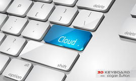 Cloud computing Concept 3D real look keybord Royalty Free Stock Image