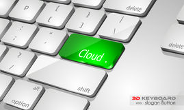 Cloud computing Concept 3D real look keybord Royalty Free Stock Photos