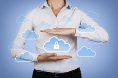 Cloud Computing Concept Data Security on Human Hand. On working business concept Royalty Free Stock Photo