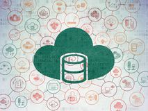 Cloud computing concept: Database With Cloud on Digital Data Paper background. Cloud computing concept: Painted green Database With Cloud icon on Digital Data Royalty Free Stock Photography
