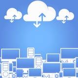 Cloud Computing Concept. Cloud computing design in blue sky. Vector Illustration royalty free illustration