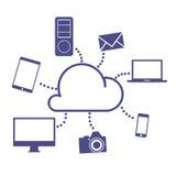 Cloud Computing Concept. Cloud computing design in blue sky. Vector Illustration vector illustration
