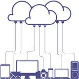 Cloud Computing Concept. Cloud computing design in blue sky. Vector Illustration stock illustration
