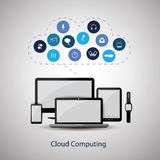 Cloud Computing Concept Design with Icons in the Cloud Representing Various Kinds of Digital Media Service and Global Storage Stock Photo