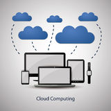 Cloud Computing Concept Design with Mobile Devices Connected to the Cloud Royalty Free Stock Photography