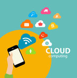 Cloud Computing Concept on Different Electronic Stock Image