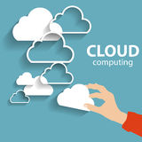 Cloud Computing Concept on Different Electronic Devices. Vector Royalty Free Stock Photo