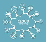 Cloud Computing Concept on Different Electronic Devices. Vector Royalty Free Stock Image