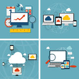 Cloud Computing Concept on Different Electronic Devices. Vector Stock Photography
